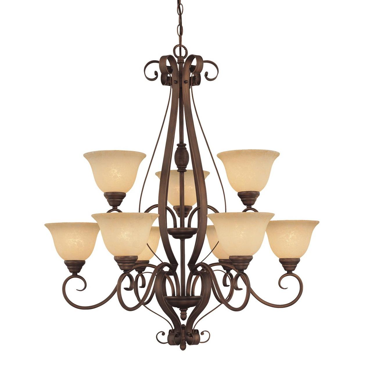 9 Light Chandelier Bronze