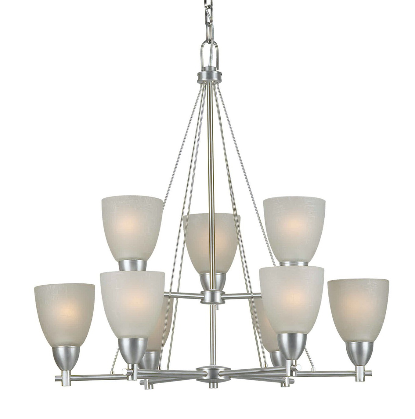 9 Light Chandelier Brushed Nickel