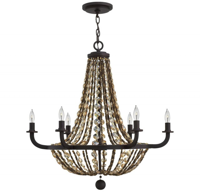 Antique Bronze Chandelier With Crystals