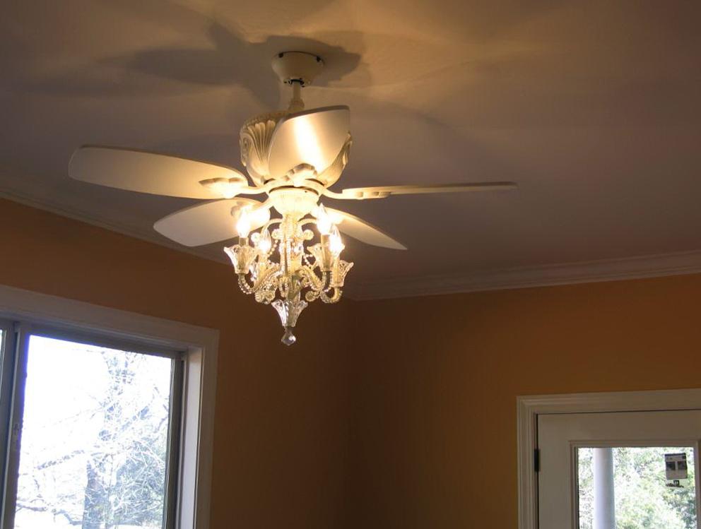 Antique White Chandelier Ceiling Fan