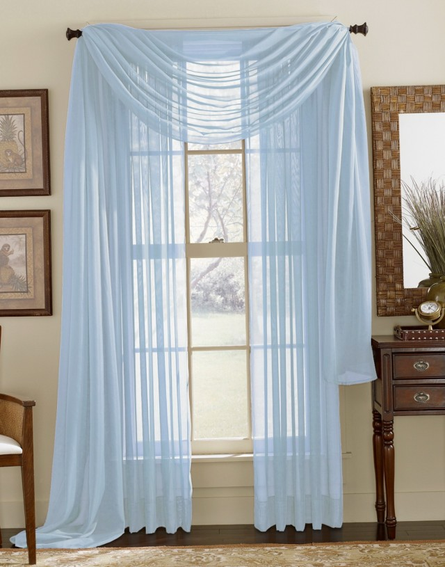 Aqua Blue Sheer Curtains