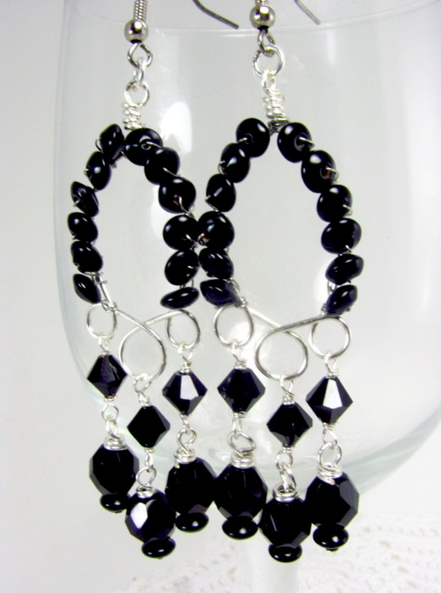 Black And Silver Chandelier Earrings