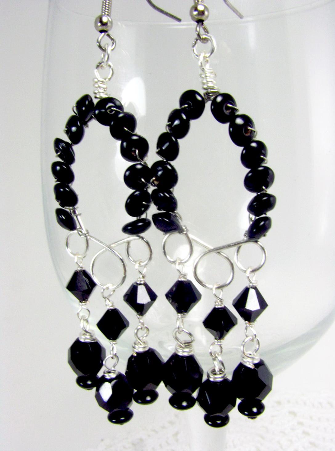Black And Silver Chandelier Earrings