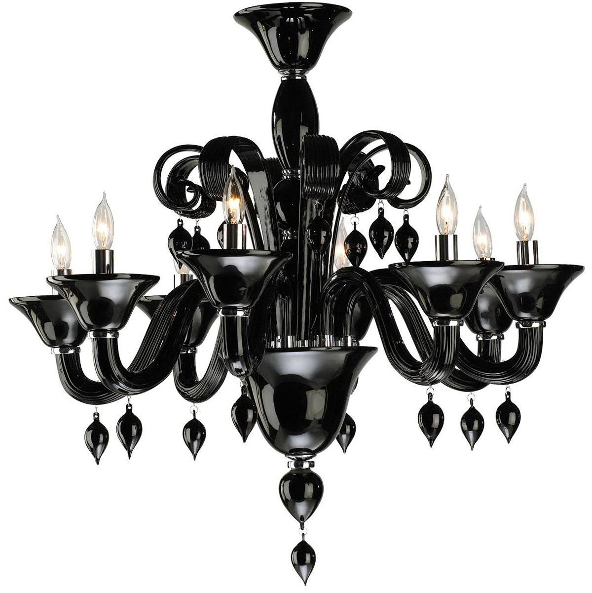 Black Iron Chandeliers With Crystals