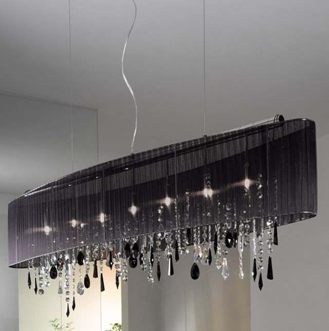 Black Shade Chandelier Light