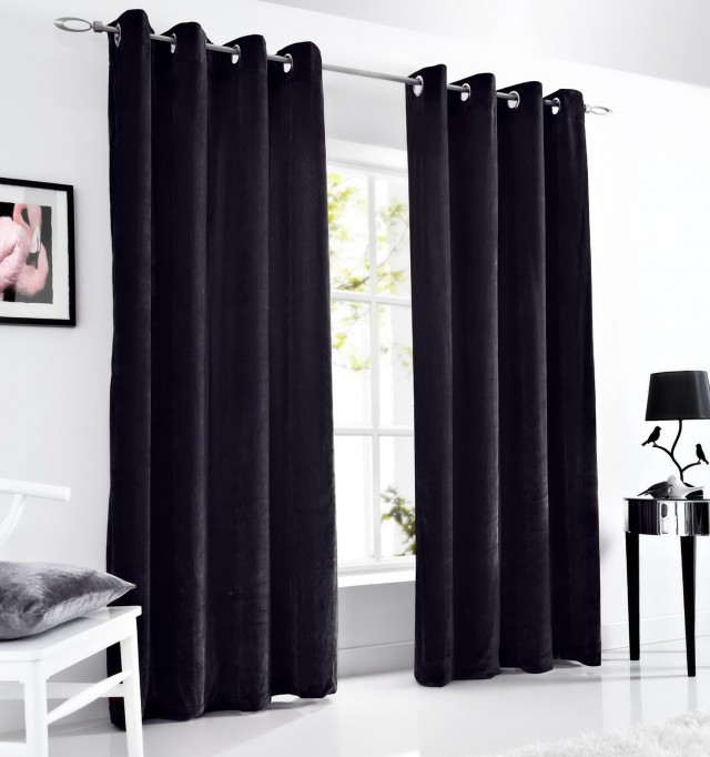 Black Velvet Curtains 90x90