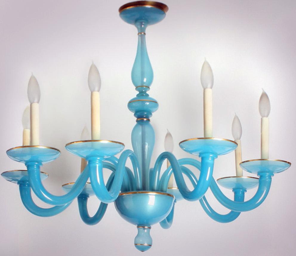 Blue Glass Chandelier Lights