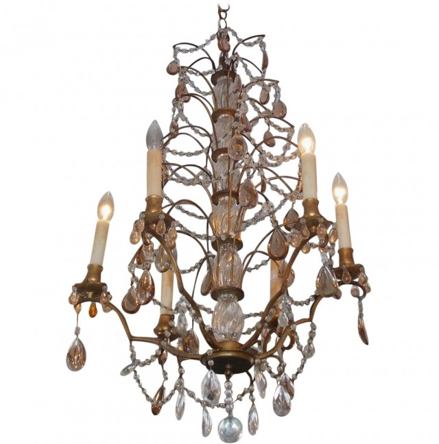 Bronze Chandelier With Amber Crystals