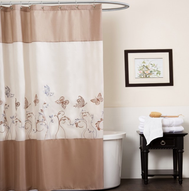 Brown And White Shower Curtains