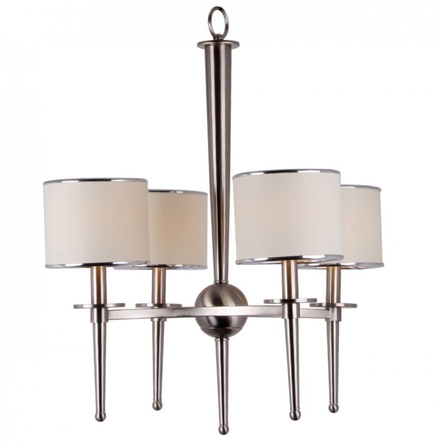 Brushed Nickel Chandelier With Fabric Shades
