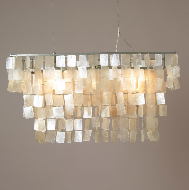 Capiz Shell Chandelier Rectangular
