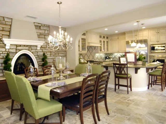 Chandelier Above Dining Table