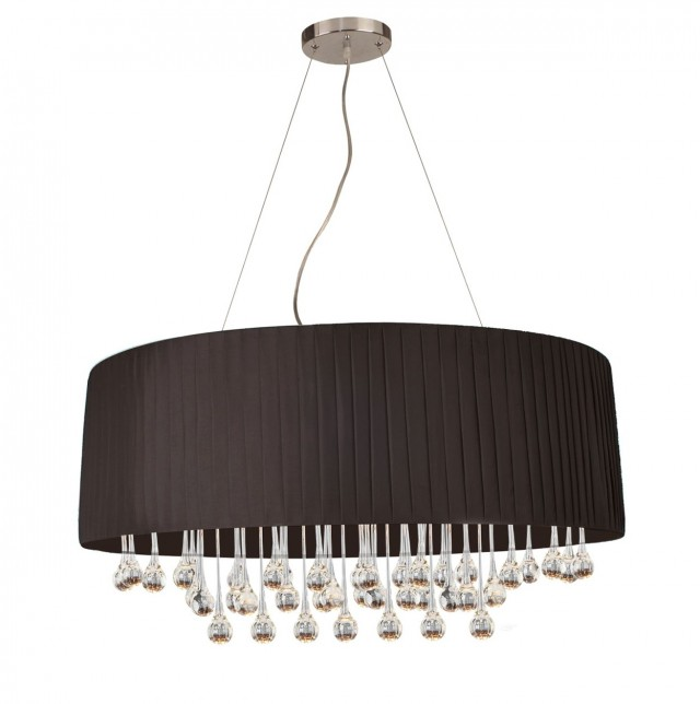 Chandelier Black Shade Crystal Drops