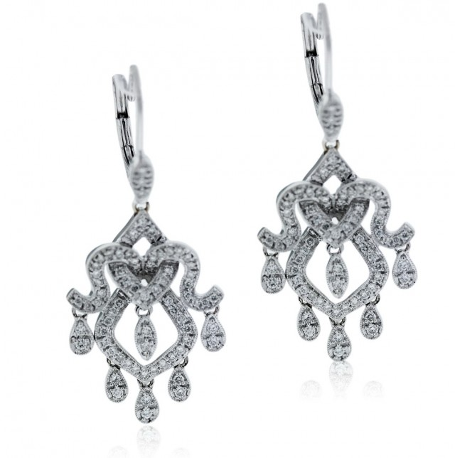 Chandelier Diamond Earrings White Gold