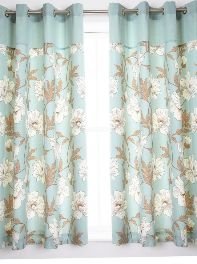 Duck Egg Blue Patterned Curtains