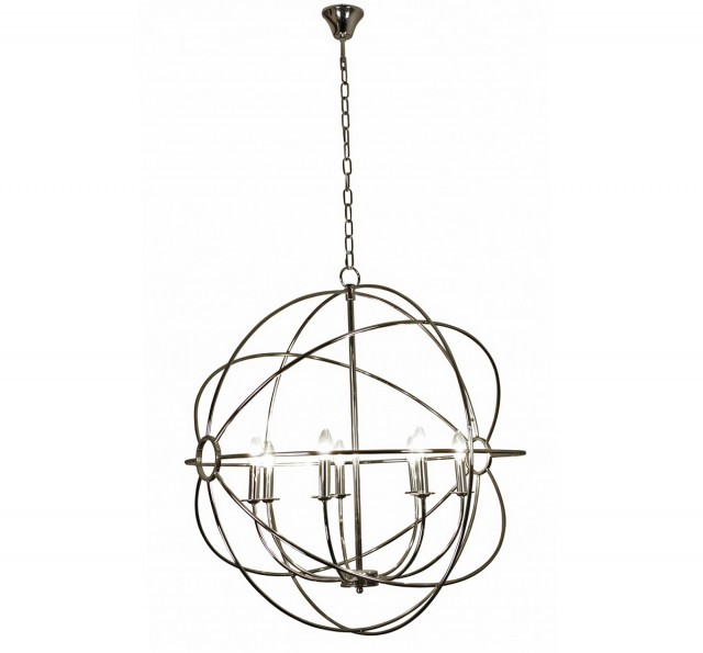 Foucault's Orb Chandelier Polished Nickel