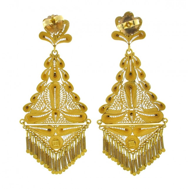 Indian Chandelier Earrings Gold