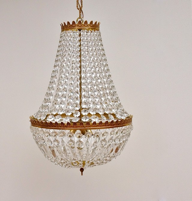 Large Vintage Crystal Chandelier
