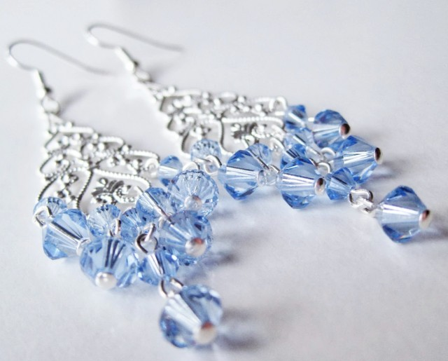 Light Blue Swarovski Crystal Chandelier Earrings