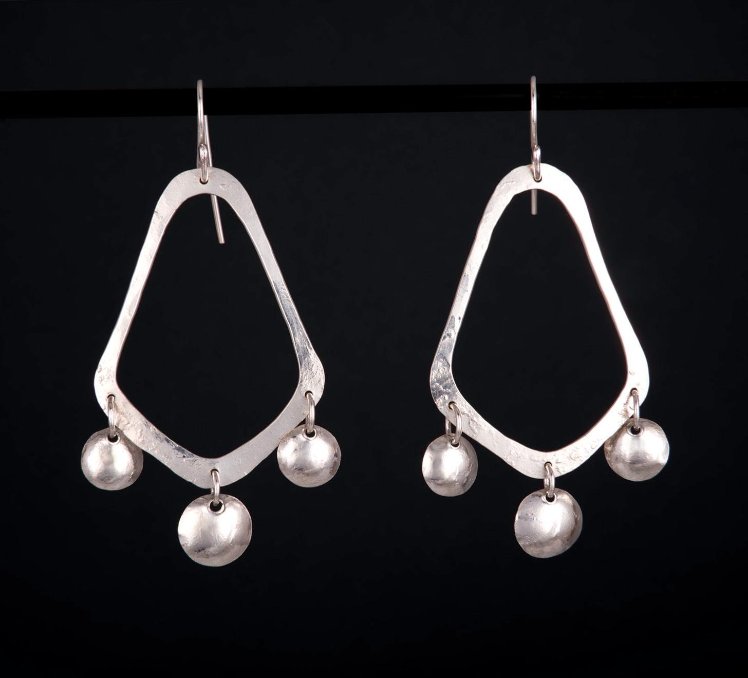 Long Silver Chandelier Earrings