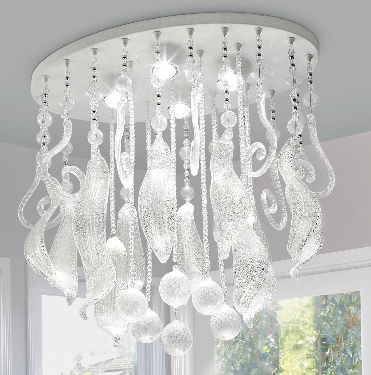 Murano Glass Chandelier For Sale