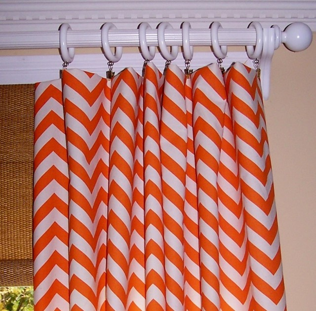 Orange Chevron Curtain Panels