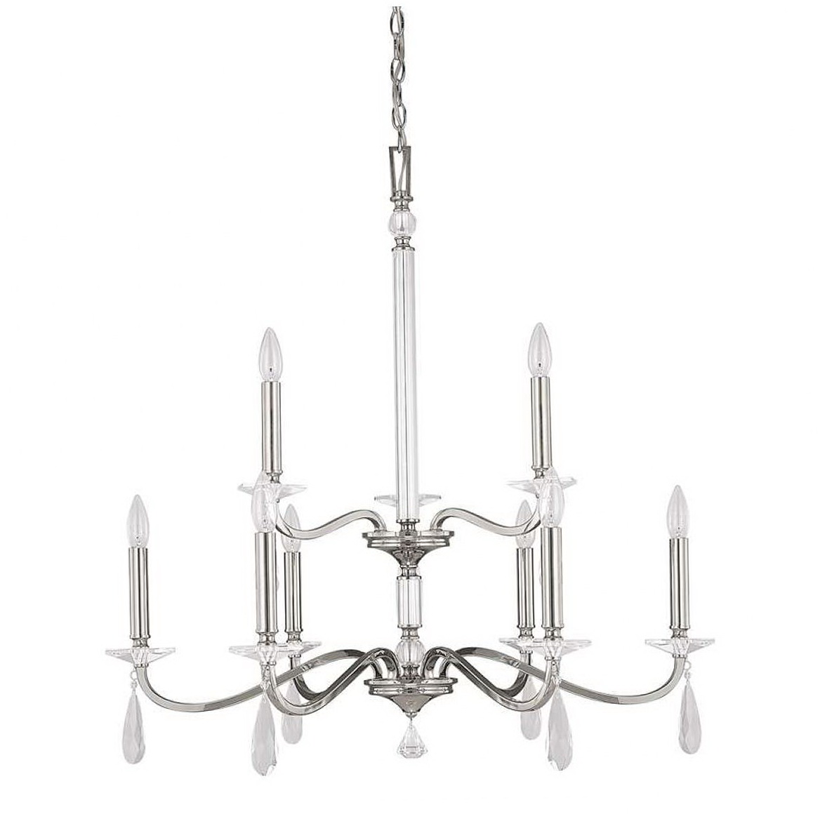 Polished Nickel Crystal Chandelier