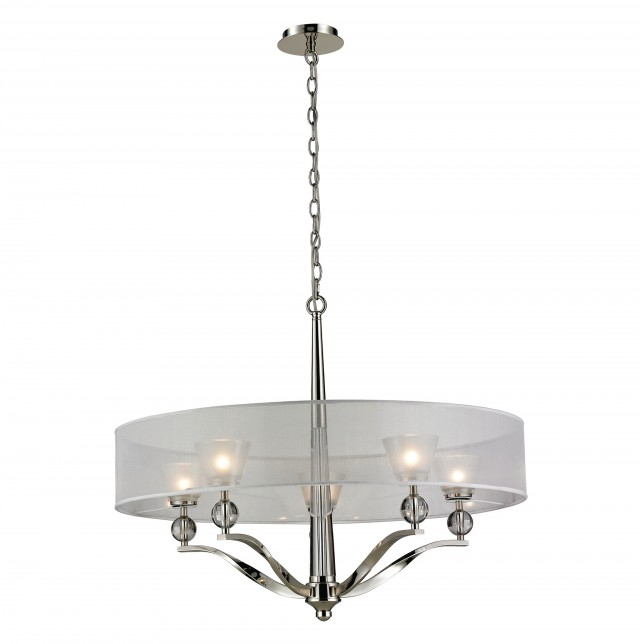 Polished Nickel Drum Chandelier