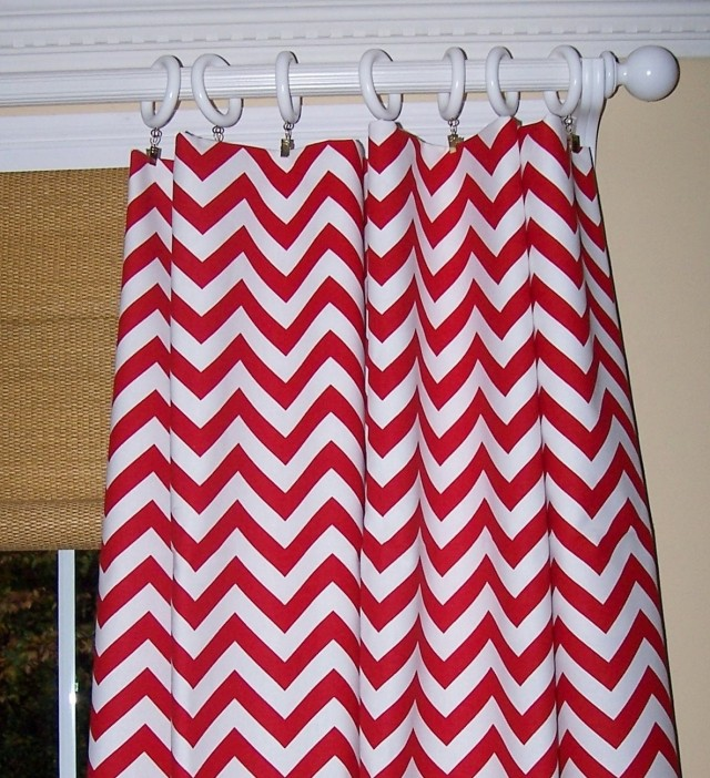 Red And White Shower Curtains