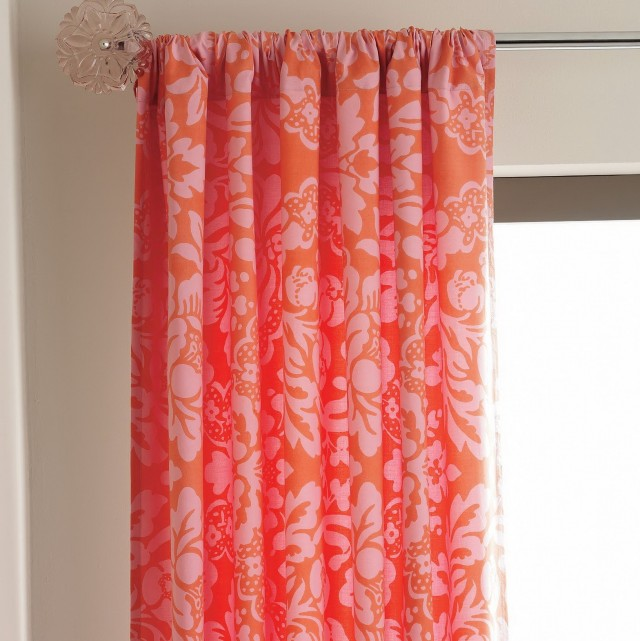 Red Orange Curtain Panels