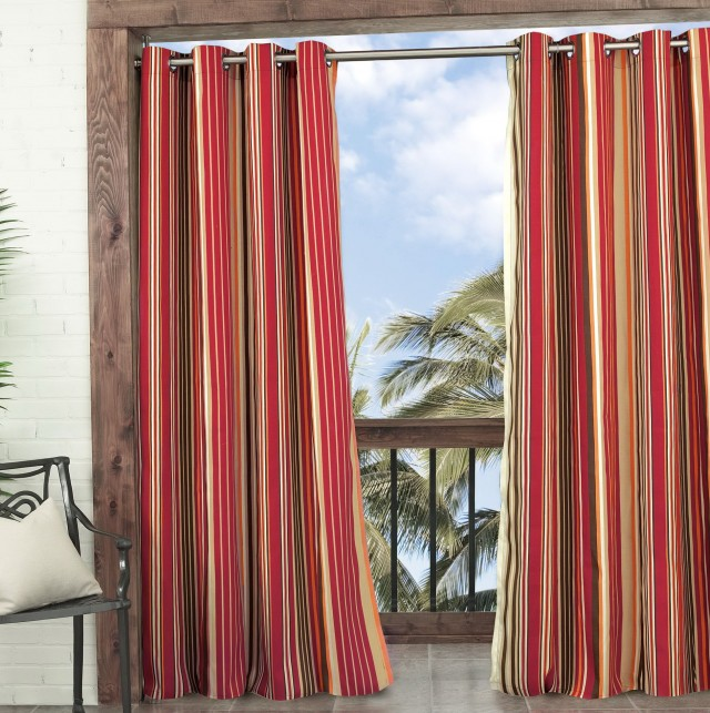 Red Stripe Curtain Panels