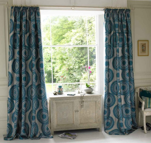 Teal And Brown Curtain Panels