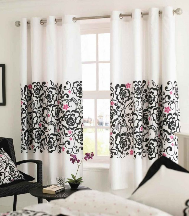White And Black Curtains Floral
