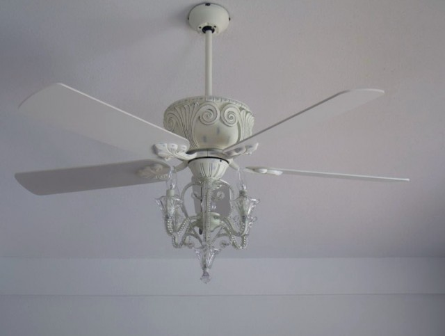 White Crystal Chandelier Ceiling Fan