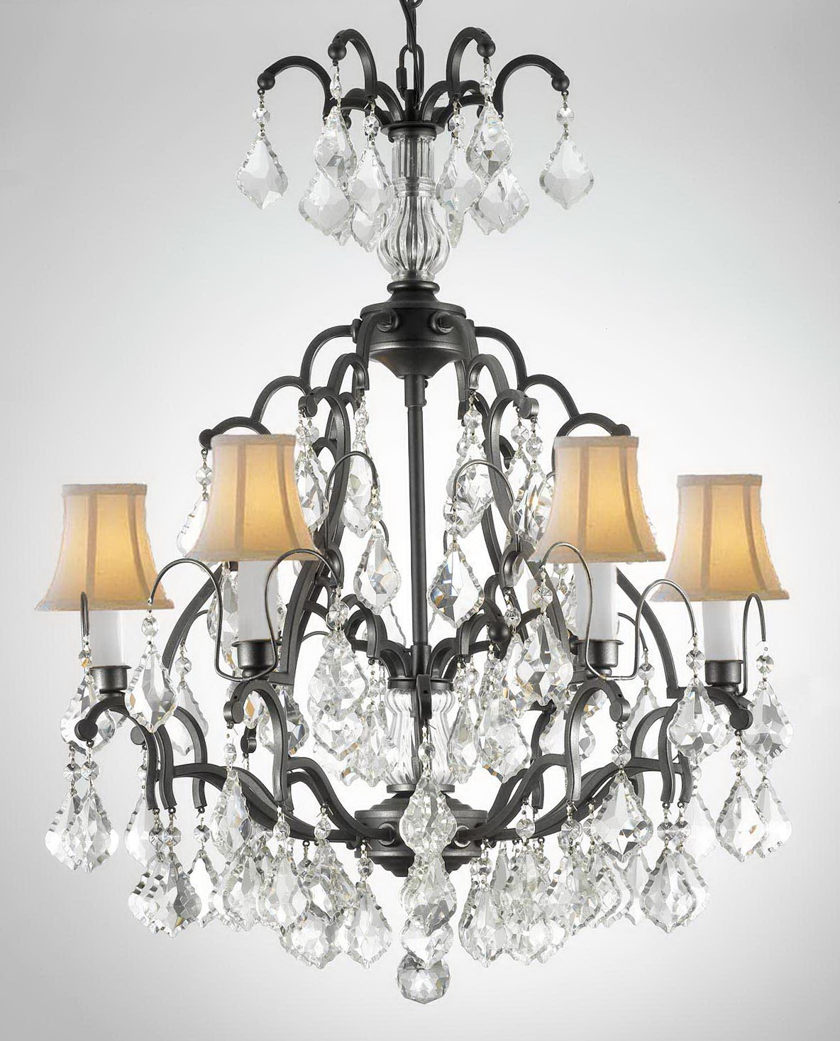 Wrought Iron Crystal Chandelier H30 X W28