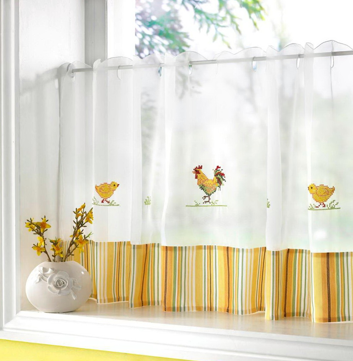 Yellow Cafe Curtains For Kitchen