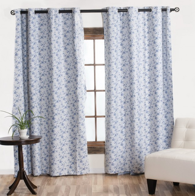 Blue Floral Curtains Sale