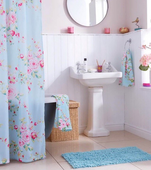Blue Floral Shower Curtains