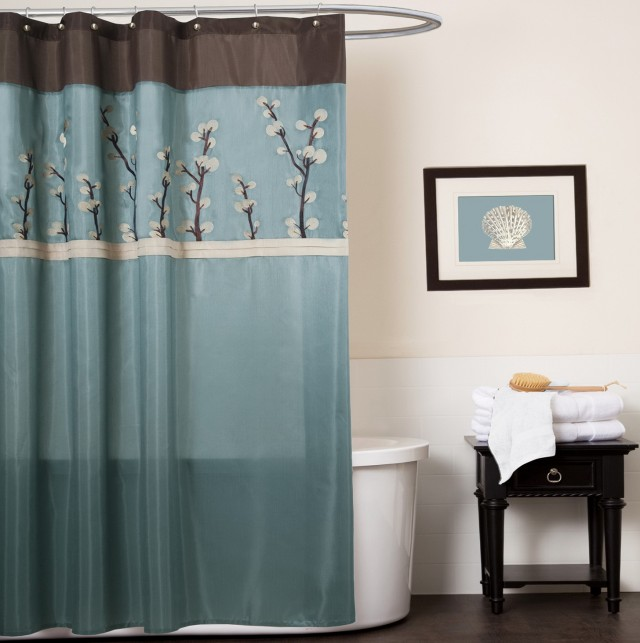 Blue Grey Shower Curtains