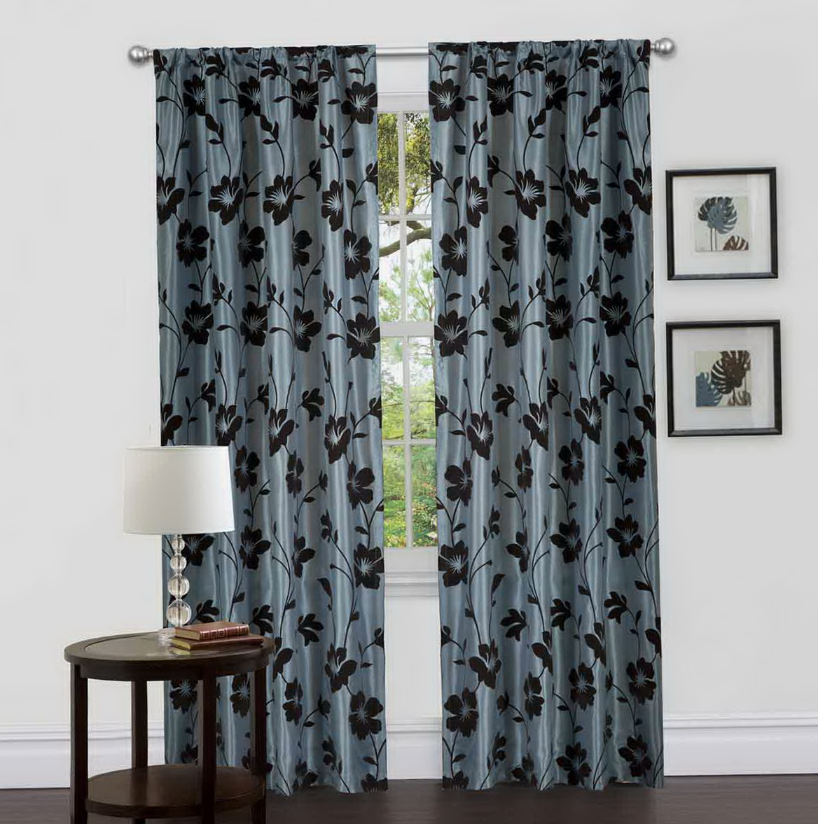 Brown And Blue Window Curtains