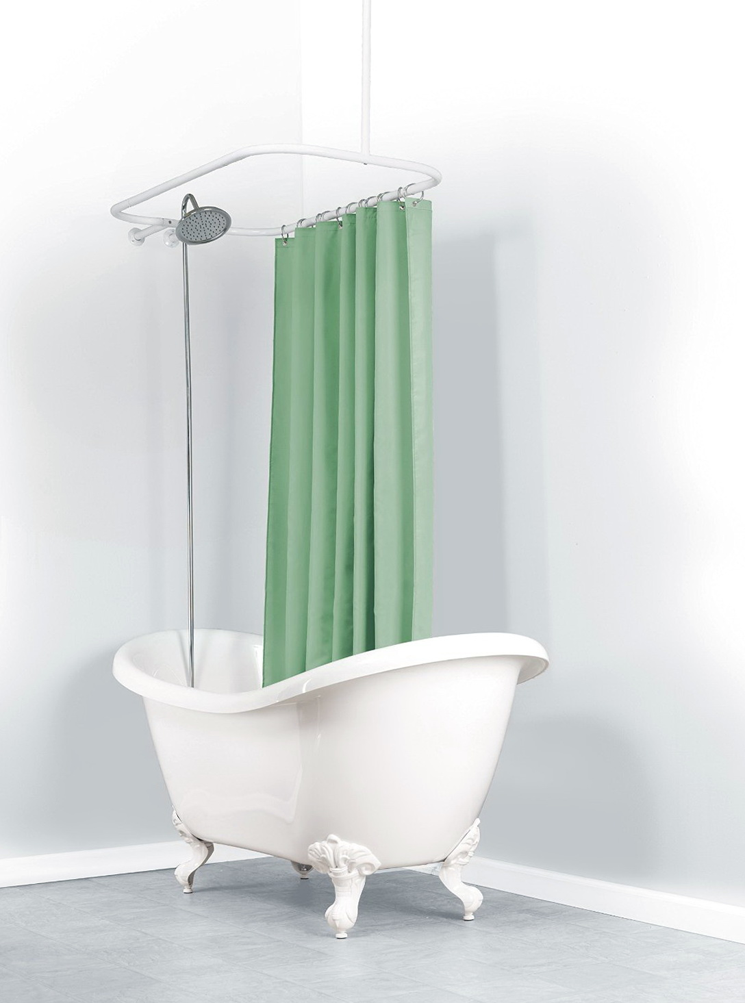 Ceiling Mount Shower Curtain Rod Clawfoot Tub