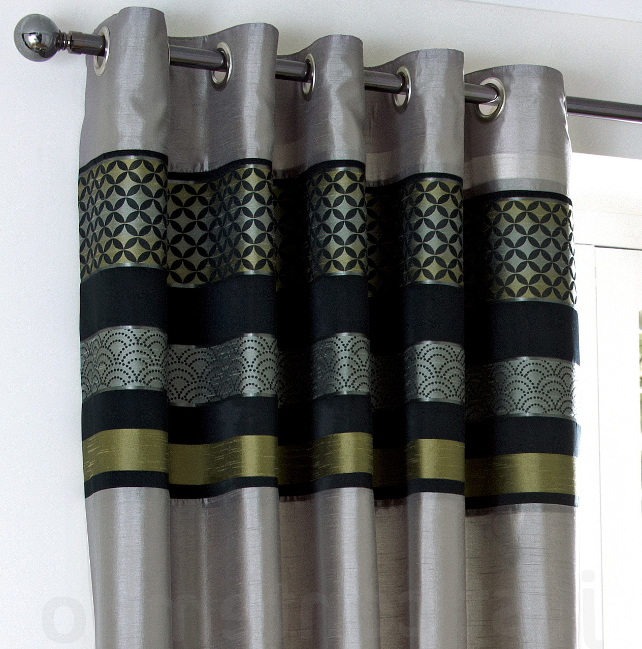 Dark Grey Eyelet Curtains