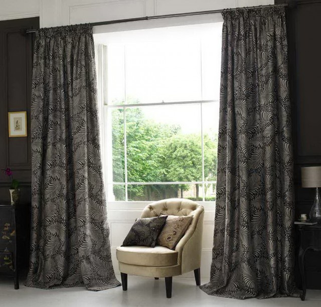 Dark Grey Patterned Curtains