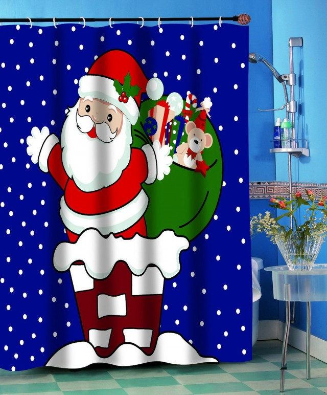 Fabric Christmas Shower Curtain