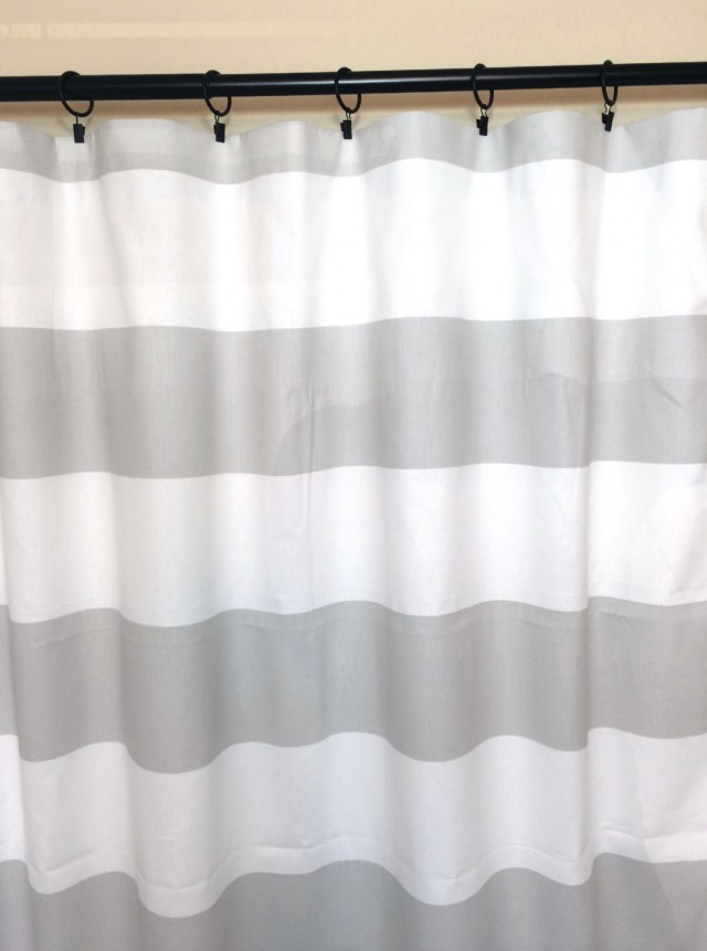 Gray Striped Window Curtains