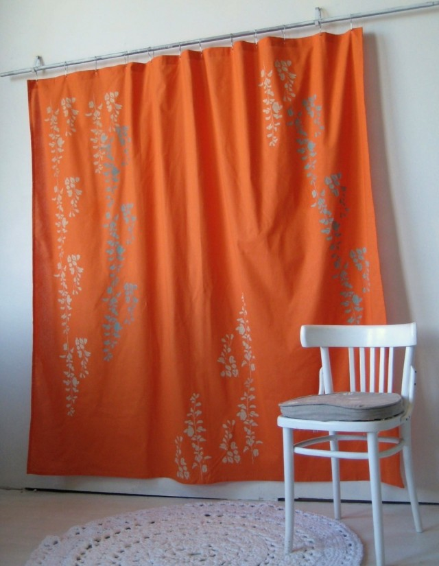 Orange And Grey Shower Curtains