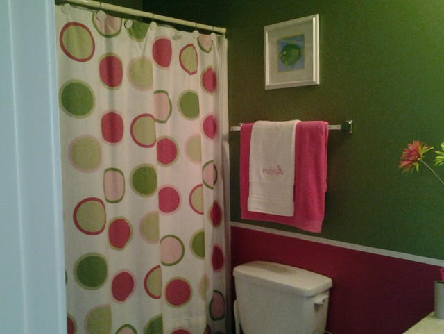 Pink And Green Shower Curtains