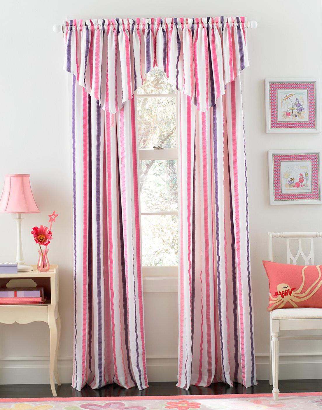Pink Black White Curtains