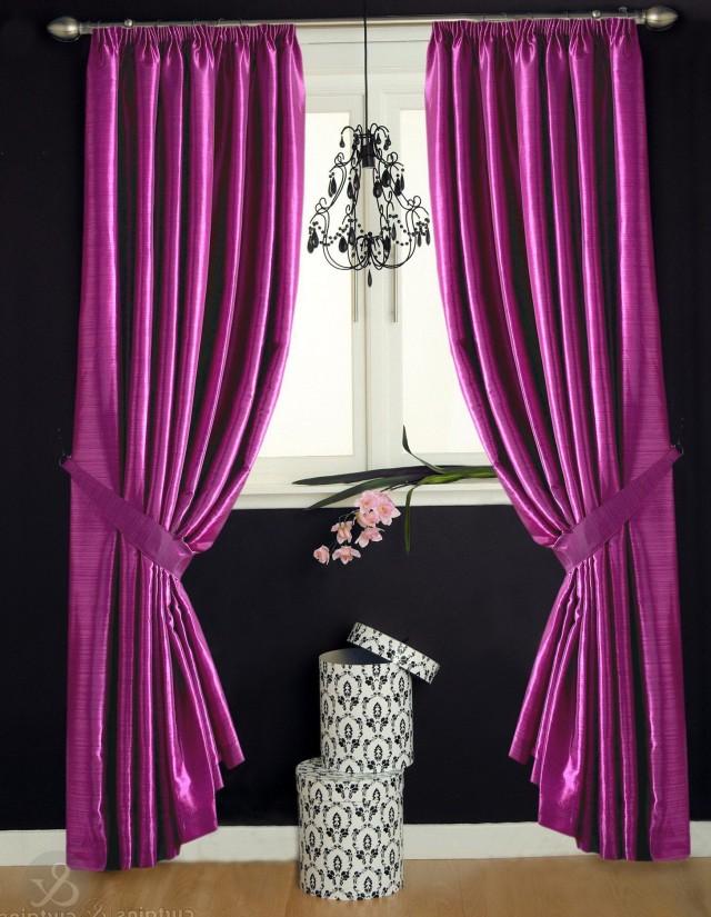 Pink Silk Curtain Panels