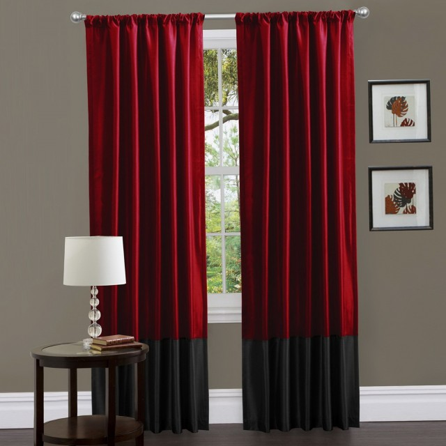 Red Black And White Window Curtains
